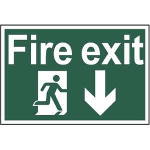 Spectrum Regular Size Fire Exit Man Running Arrow Down Sign