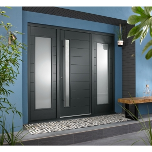 Stockholm External Grey Hardwood Veneer Door 1981 x 838mm + Grey Frame & Side Lights 2 x 18in 457mm L & R