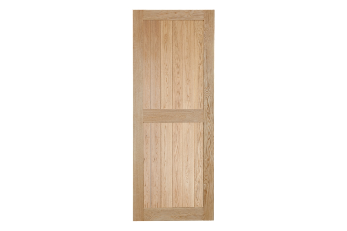 Intermal Bead & Butt Rustic Framed Ledged Solid Oak Door 2ft9 x 6ft6