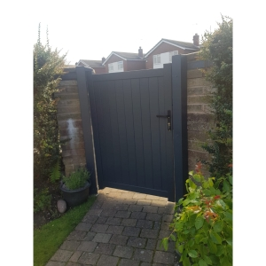 """Canterbury Pedestrian Flat Top Pedestrian Gate with Vertical Solid INFILL, LOCK, Lock Keep and Hinges 1200 x 2000mm Grey"""""""