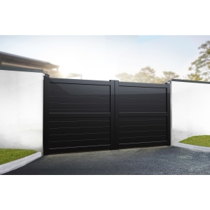 Dartmoor Double Swing Flat Top Driveway Gate with Horizontal Solid Infill 4000 x 2200mm Black