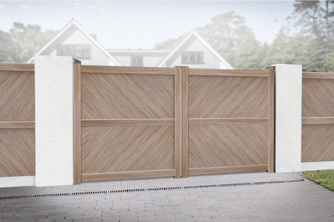 Cambridge Double Swing Flat Top Driveway Gate with Diagonal Solid Infill 3500 x 1800mm Wood Effect