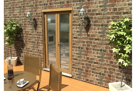 Travis Perkins 54mm Ptq Solid Oak Unfinished External French 1200mm Door Set