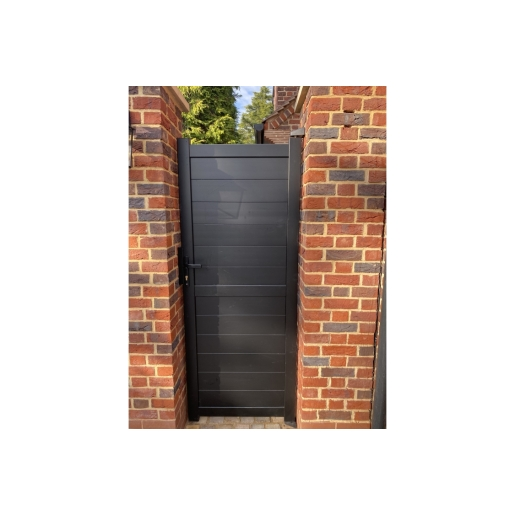 Dartmoor Pedestrian Flat Top Pedestrian Gate with Horizontal Solid INFILL, LOCK, Lock Keep and Hinges 1200 x 2200mm Black