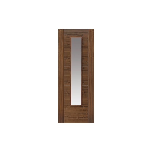 Jb Kind Walnut Emral Prefinished Glazed Internal Door 35 x 1981 x 762mm