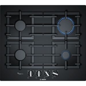 Bosch Serie 6 60cm Gas On Glass with Cast Iron Pan Supports Black PPP6A6B90