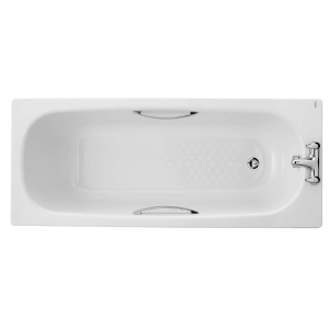 iflo Steel Bath 2 Tap Holes Included Legs and Grips 1700mm