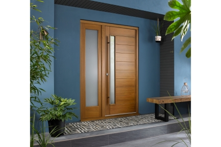 Stockholm External Oak Veneer Door 1981 x 838mm + Oak Frame & Side Light 1 x 24in 610mm Reversible