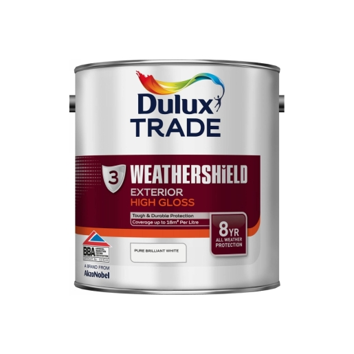 Dulux Weathershield Gloss Paint Pure Brilliant White 2.5L