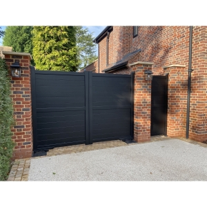 Dartmoor Double Swing Flat Top Driveway Gate with Horizontal Solid Infill 3500 x 1600mm Black