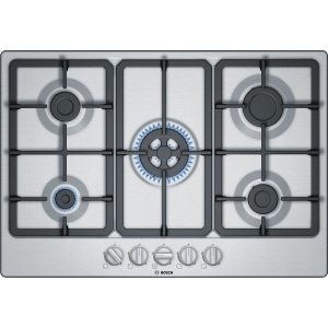 Bosch Serie 4 75cm Gas Hob with Sword Knobs and Wok Burner Stainless Steel PGQ7B5B90