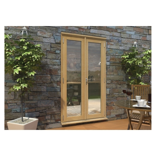 Pattern 10 Unfinished Oak French Doors - 4ft