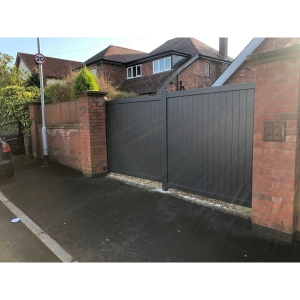 Canterbury Double Swing Flat Top Driveway Gate with Vertical Solid Infill 3250 x 2200mm Grey