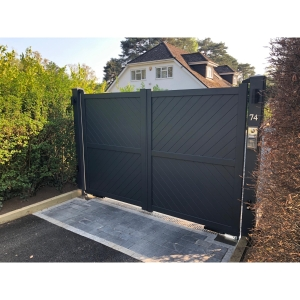 Cambridge Double Swing Flat Top Driveway Gate with Diagonal Solid Infill 3500 x 2200mm Grey