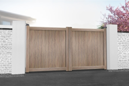 Canterbury Double Swing Flat Top Driveway Gate with Vertical Solid Infill 3250 x 1800mm Wood Effect