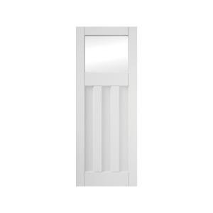 3 Panel Clear Glazed Primed Interior Door