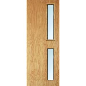 Internal Flush Oak Veneer FD30 Fire Door 16G Clear Glazed