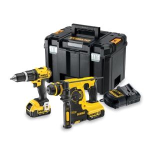 DeWalt 18V 2 Speed Combi Drill & SDS+ Hammer Drill Kit DCK206M2T-GB