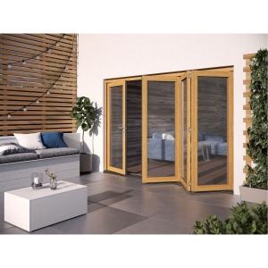 JELD-WEN Kinsley Finished Solid Hardwood Patio Bifold Door Set Golden Oak - 2094 x 2994 mm