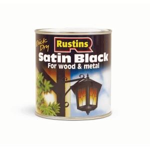 Rustins Satin Black Paint 500ml