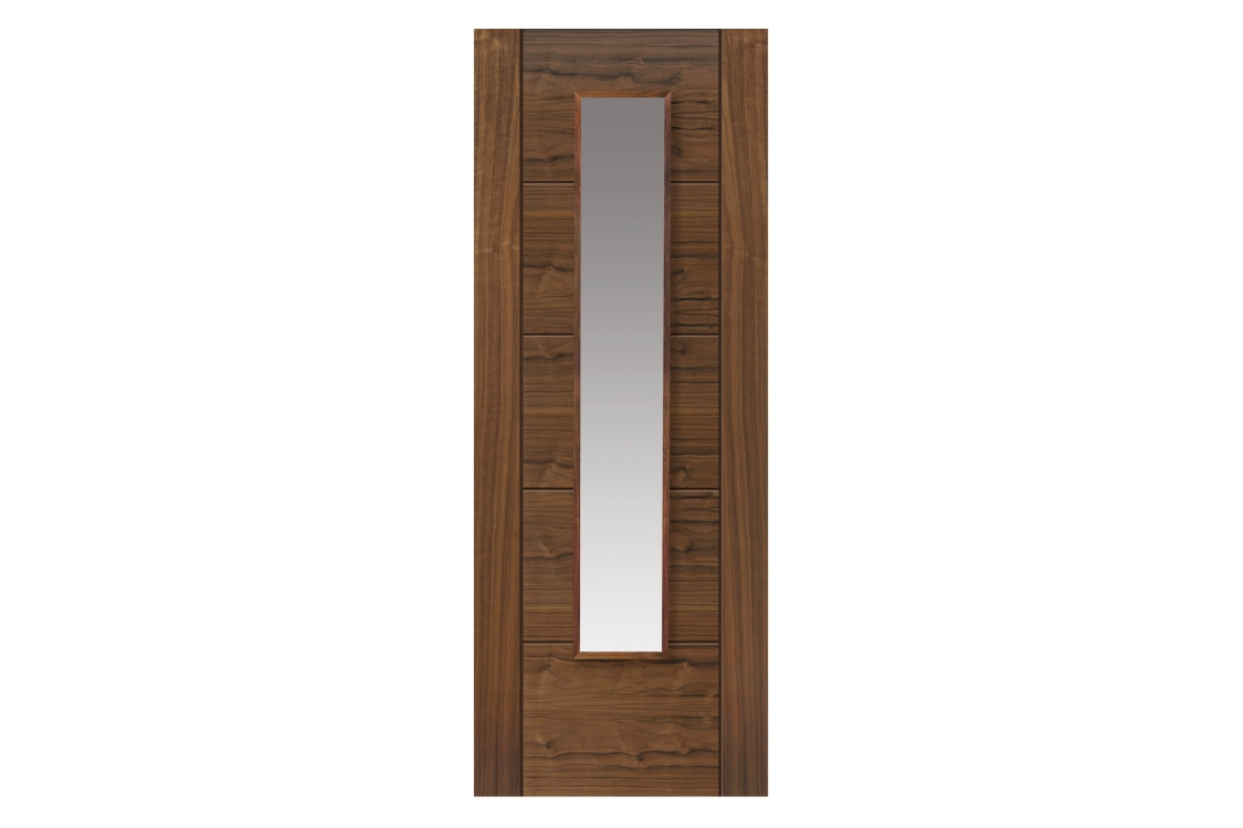 Jb Kind Walnut Emral Prefinished Glazed Internal Door 35 x 1981 x 686mm