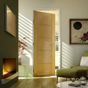 Internal Moulded 5 Panel Groove Oak FD30 Fire Door