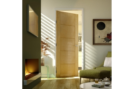 Internal 5 Groove Oak 30 Min Fire Door 1981 mm x 762 mm x 44 mm