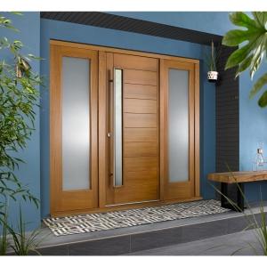 Stockholm External Oak Veneer Door 1981 x 838mm + Oak Frame & Side Lights 2 x 18in 457mm L & R