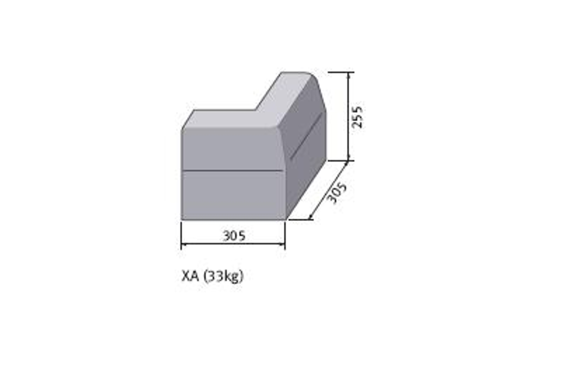 Marshalls British Standard Half Battered External Angled Concrete Kerb 125mm x 125mm x 255mm