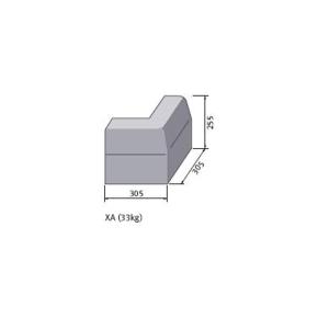 Marshalls British Standard Half Battered External Angled Concrete Kerb 125mm x 125mm x 255mm