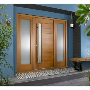Stockholm External Oak Veneer Door 1981 x 838mm + Oak Frame & Side Lights 2 x 24in 610mm L & R