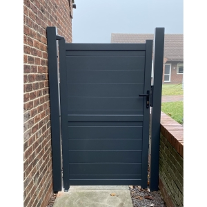 """Canterbury Pedestrian Flat Top Pedestrian Gate with Vertical Solid INFILL, LOCK, Lock Keep and Hinges 1000 x 2000mm Grey"""""""
