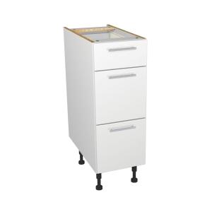 Self Assembly Kitchens Orlando White 300 3 Drawer Base