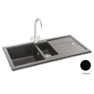 Carron Phoenix Bali 1.5 Bowl Inset Jet Black Composite Kitchen Sink