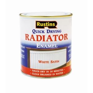 Rustins Quick Drying Radiator Enamel Satin White 500ml