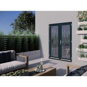 JELD-WEN Bedgebury Hardwood French Doors Grey Finish - 5ft