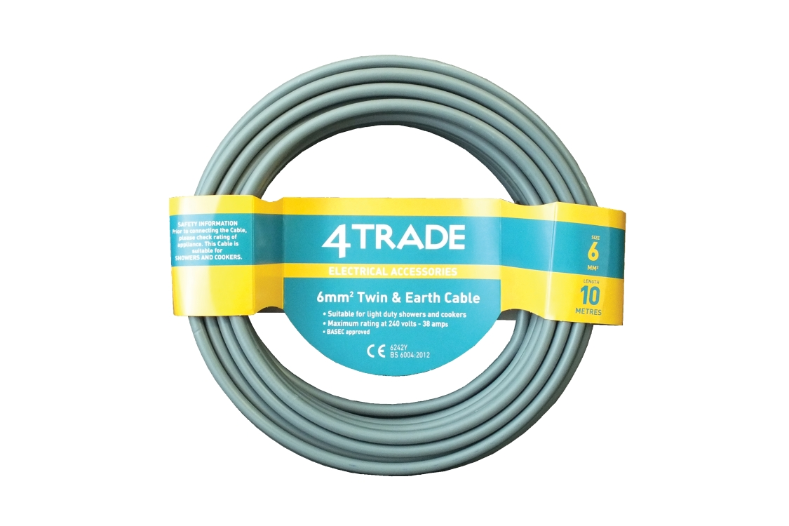 4TRADE 6242YH 6mm Twin & Earth Cable Grey 10m