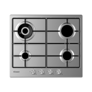 Candy 60cm 4 Burner Gas Hob with Enamel Pan Supports Stainless Steel CHW6BR4WPX