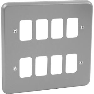 MK Grid Plus Metal Front Plate 8 Gang
