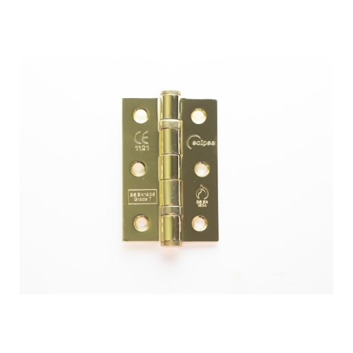 Eclipse 14103 Mild Steel Ball Bearing Hinge Grade 7 Electro Brass 76 x 51 x 2mm 2 Pack