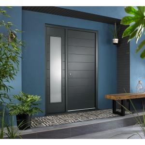 Oslo External Grey Hardwood Veneer Door 1981 x 838mm + Grey Frame & Side Light 1 x 24in 610mm Reversible