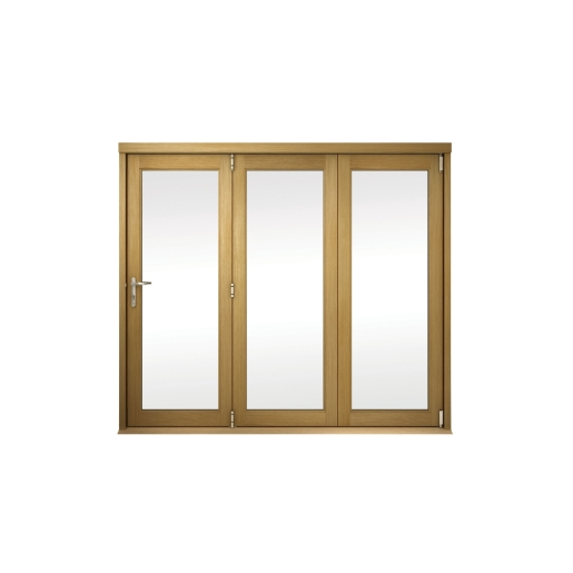 Slimline External Unfinished Oak Veneer Bifold Door Set 2390mm wide