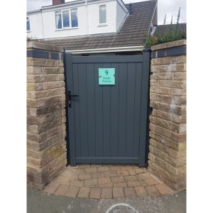 """Canterbury Pedestrian Flat Top Pedestrian Gate with Vertical Solid INFILL, LOCK, Lock Keep and Hinges 900 x 1600mm Grey"""""""