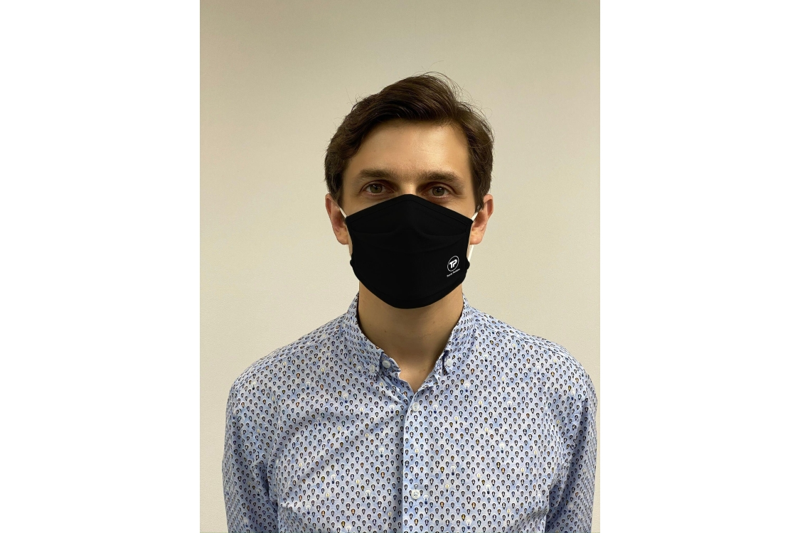 Reuseable Cotton Face Mask Black with White Travis Perkins Logo