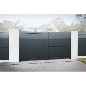 Cambridge Double Swing Flat Top Driveway Gate with Diagonal Solid Infill 3750 x 2000mm Grey