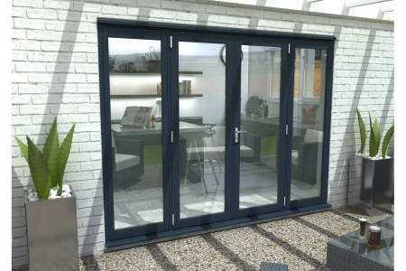 Travis Perkins 54mm Grey External French Vestibule Door Set 1500mm