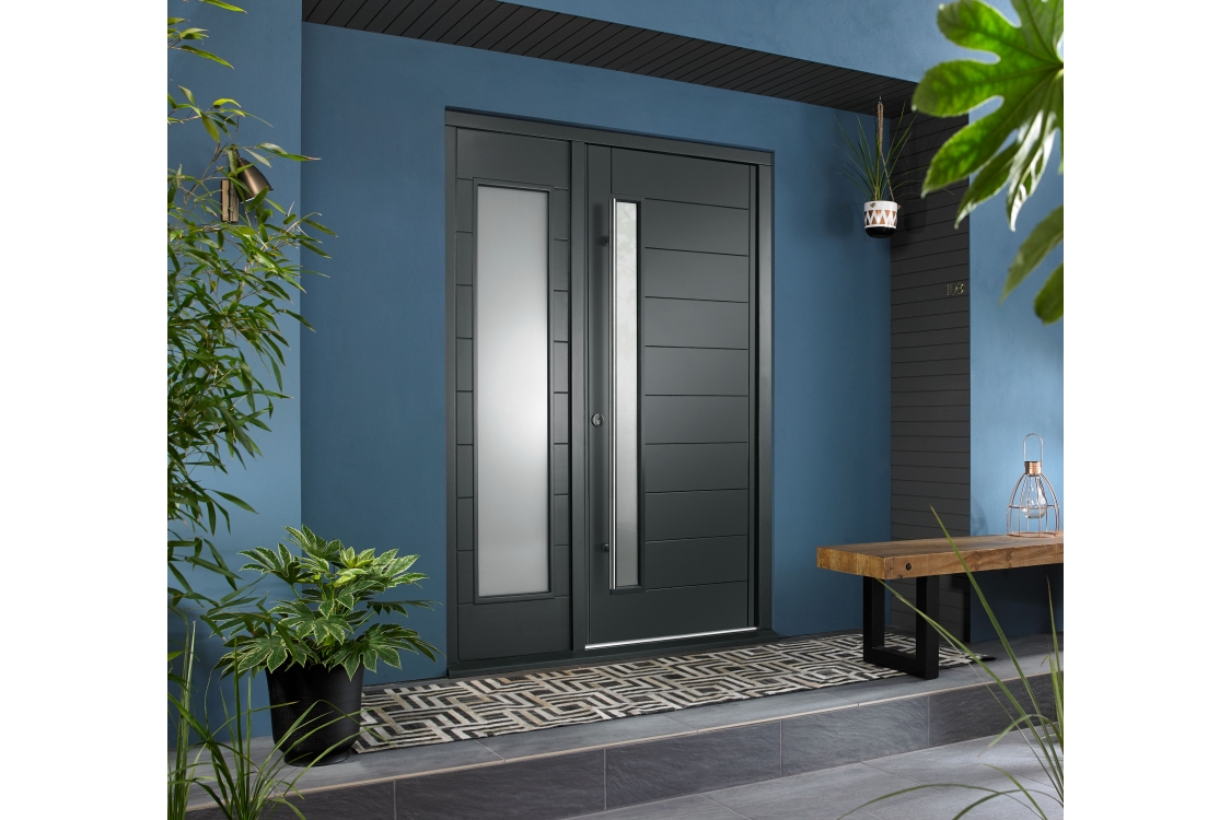 Stockholm Ultimate External Grey Front Door with Outer Frame and Single Sidelight 1583mm W x 2079mm H