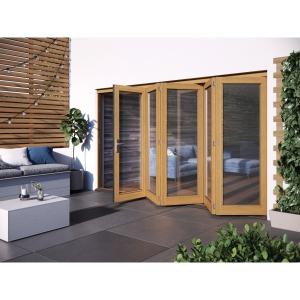 JELD-WEN Kinsley Finished Solid Hardwood Patio Bifold Door Set Golden Oak - 2094 x 3594 mm