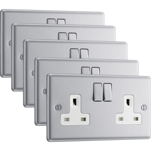 Bg Brushed Steel 13A Dp White Insert Switched Socket 2 Gang Pack 5