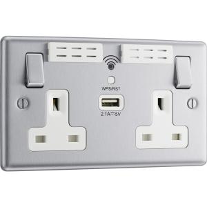 Bg Brushed Steel 13A White Insert Wifi Extender & USB Socket 2 Gang + 1 USB 2.1A